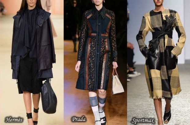 Combined fabrics trench coats 2016 Spring