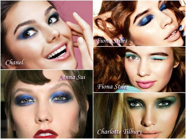 Greenish blue eyeshadows makeup for New Year 2016
