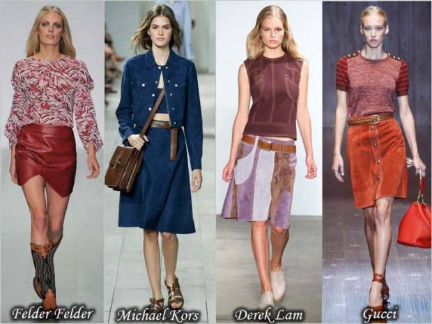 Leather and suede skirts Spring 2016