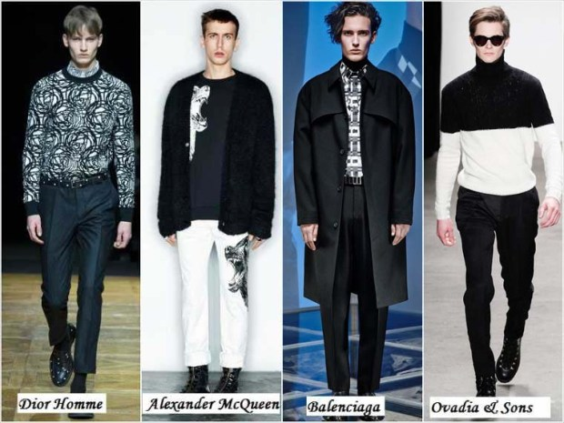 Black and white combination trendy clothes for men 2016