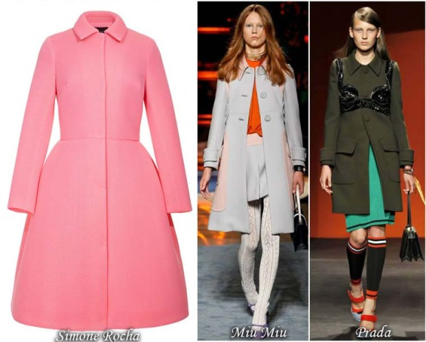 Coat retro with material inserts and high-waist
