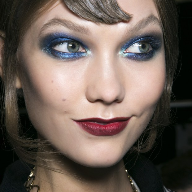 Bright red lips and bright eyeshadow