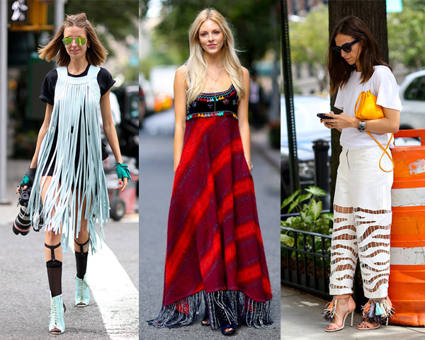 Clothes with fringes street fashion
