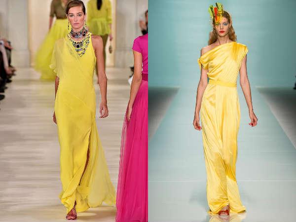 Yellow evening dresses chiffon