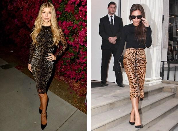 Fergie and Victoria Beckham wear leopard print