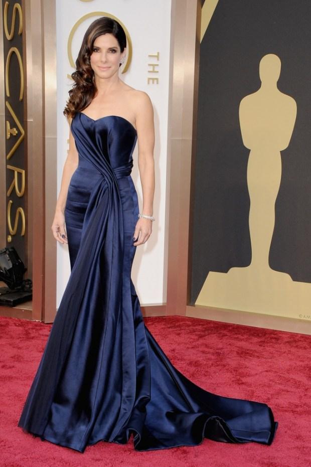 Sandra Bullock in a dress by Alexander McQueen, 2015