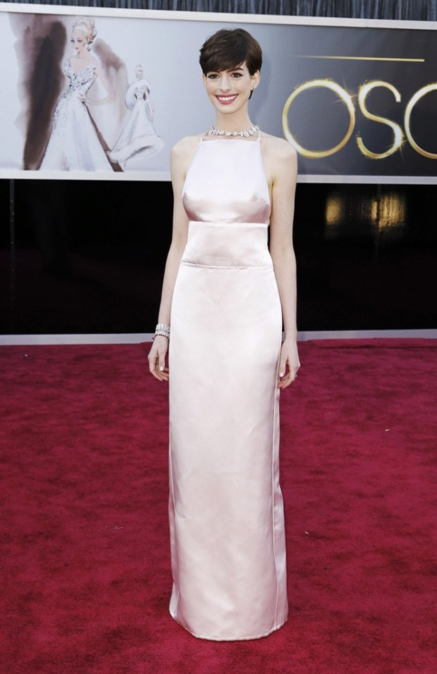 Anne Hathaway in Prada dress, 2013