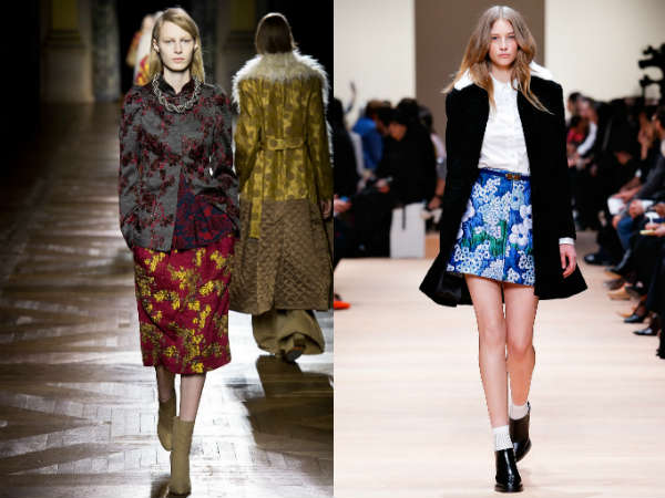 Flared floral skirts