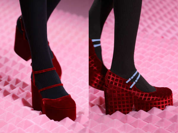 red thick heel and sole