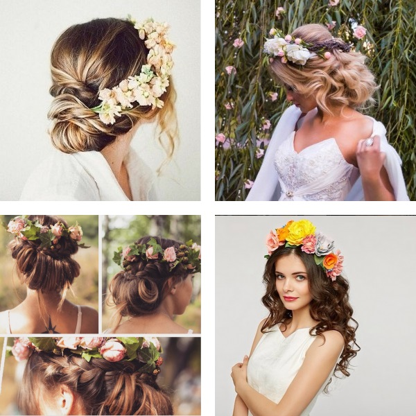 Wedding hairstyles with wreath 2017