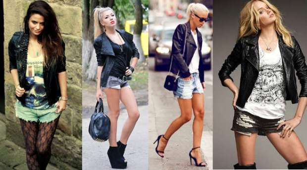 How to wear women's leather jackets with shorts
