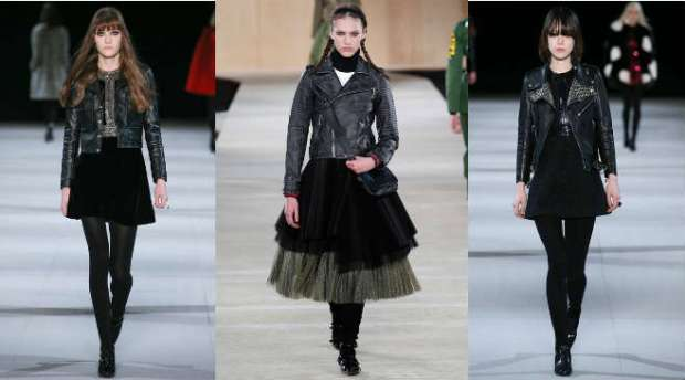 How to wear a biker leather jacket with skirt