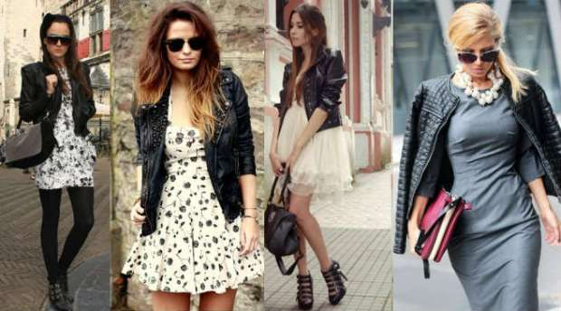 What dress to wear with a leather jacket
