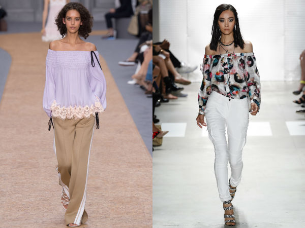 Women's blouses spring summer 2017: bare shoulders