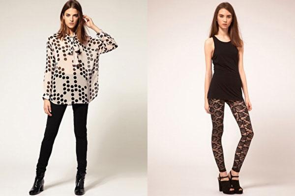 Ladies black lace leggings