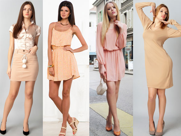How brunettes wear the beige color