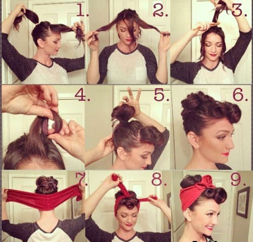 Sep by step quick retro hairstyles for medium hair