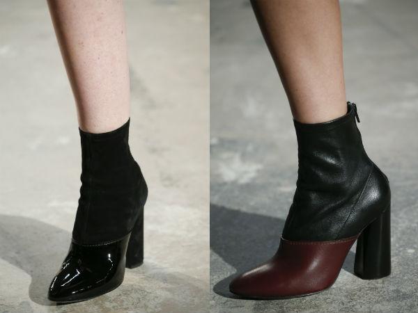 Women's footwear combined fabrics