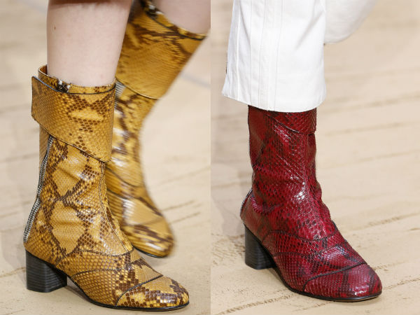 Leather animal printed boots