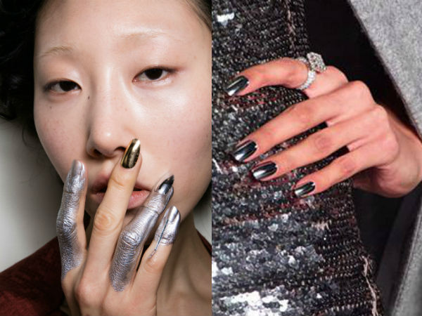 Metallic manicure fall winter 2017 2018
