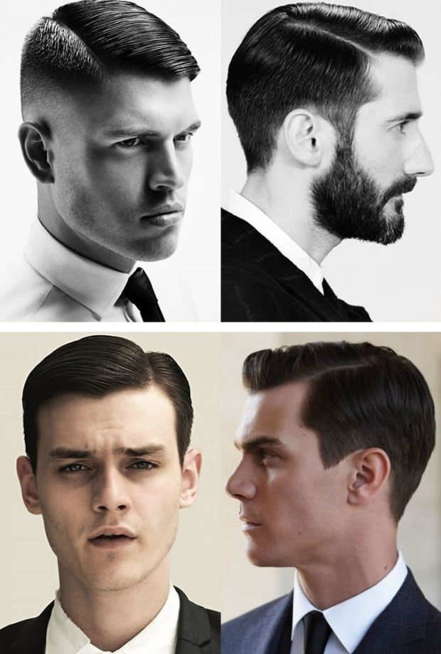 Side parting men hairstyle
