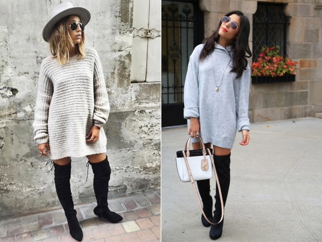 with sweater dress