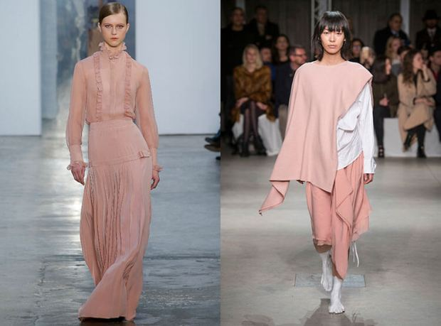 Fashion pale pink color fall winter 2018 2019
