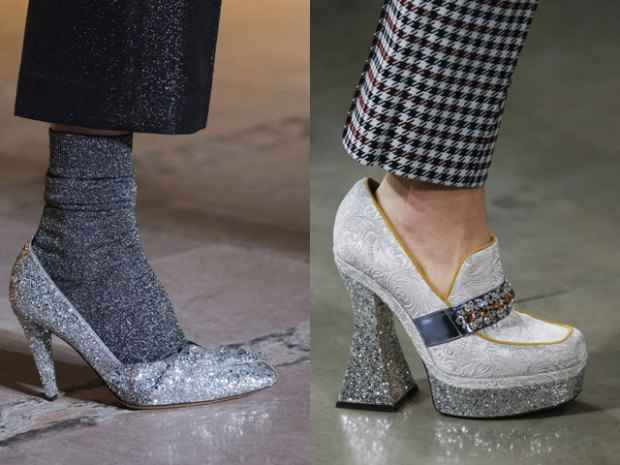 Footwear with thick heel and platforms