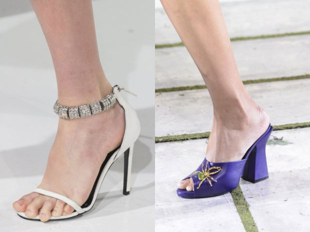 Medium heeled footwear with rhinestones