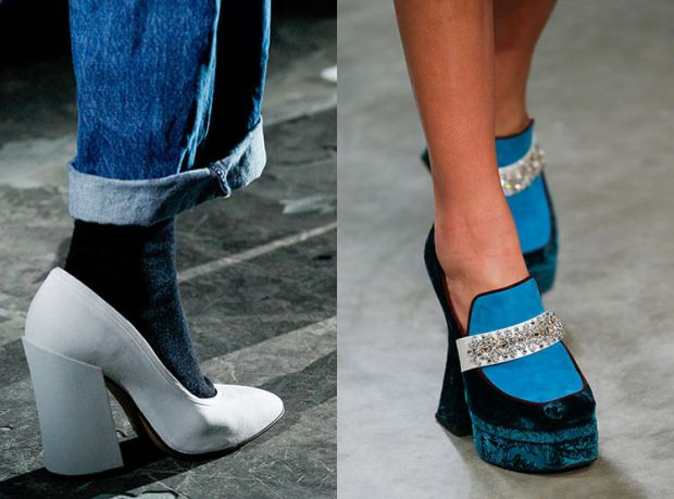 Shoes with platforms and heel
