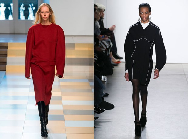 Office dresses fall winter 2018 2019: bulky sleeves