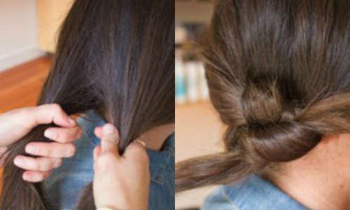 Top knot bun for medium length hair