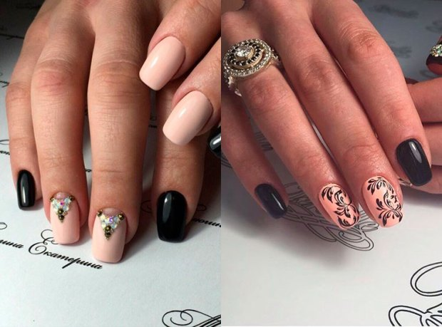 Two colors nail design