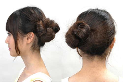 Bun hairstyle for log hair