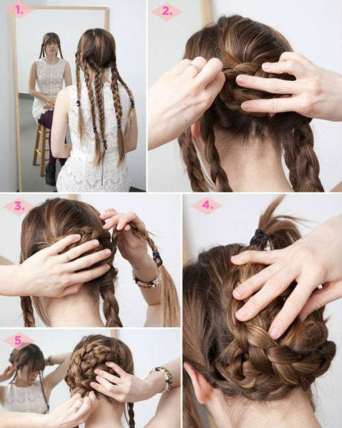 Festive braided bun for long hair
