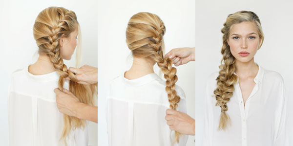 Step by step french braid for long hair
