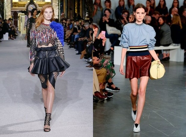 Fashionable short leather skirts