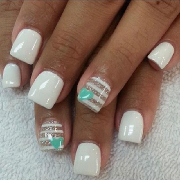 Beautiful white short nails 2019