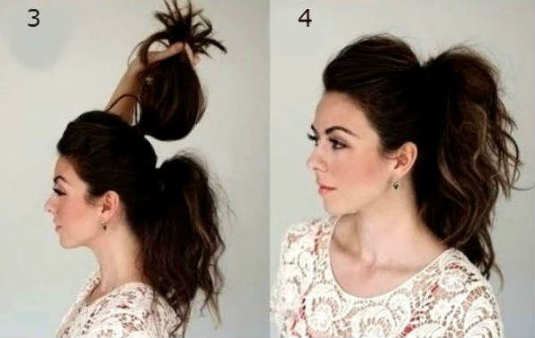 Step-by-step ponytails for curly hair