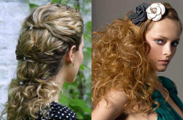 Hairstyles with decorative elements for curly hair