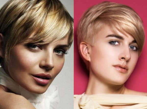 Hairstyle with short asymmetrical bangs