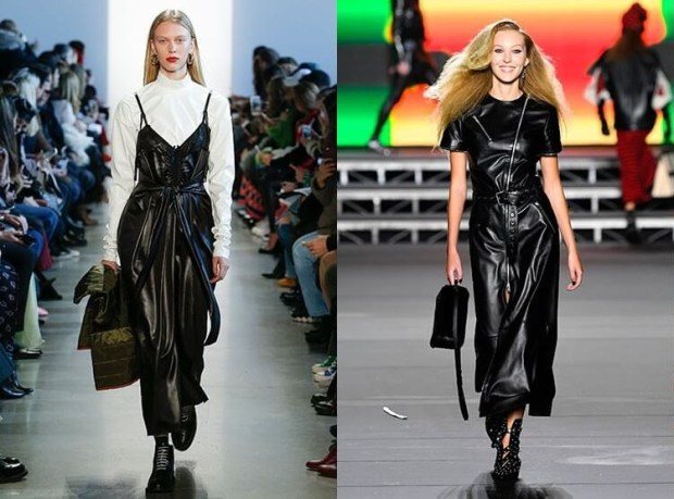 Black leather trendy dresses