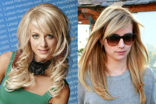 Hairstyles with thinned asymmetrical bangs