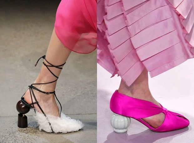 Fashion footwear with unusual heel 2020