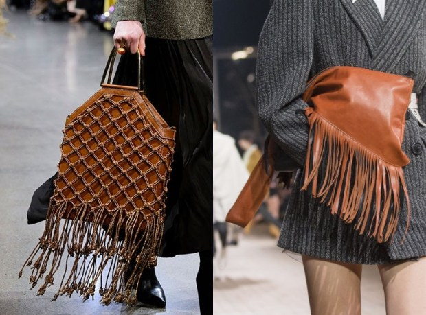 brown leather bag with fringes