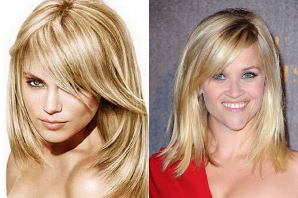 Thinned haircuts with asymmetrical bangs
