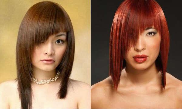 Bob-carre haircuts with asymmetrical bangs