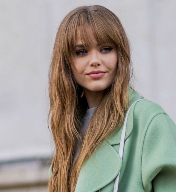 Thinned long hair haircuts with bangs
