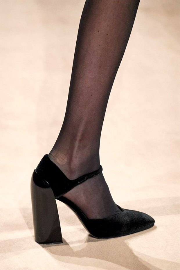 black with thick heel