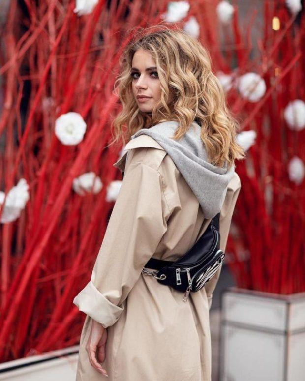 Hooded women trench coat